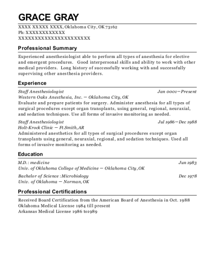 best staff anesthesiologist resumes resumehelp