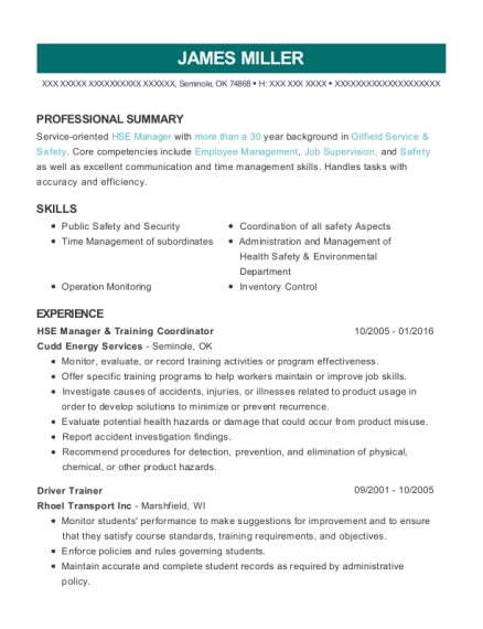 Cudd Energy Services Hse Manager & Training Coordinator Resume ...