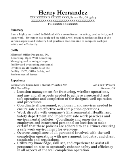 chesapeake energy completions consultant resume sample