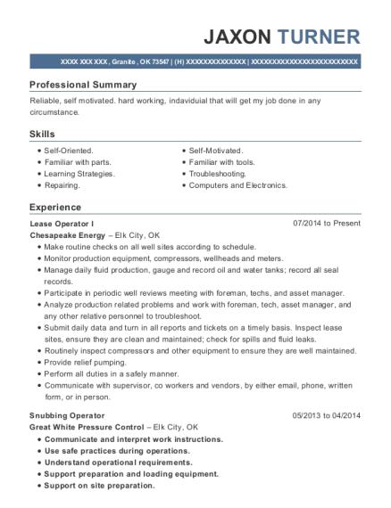 Chesapeake Energy Lease Operator I Resume Sample - Granite Oklahoma ...