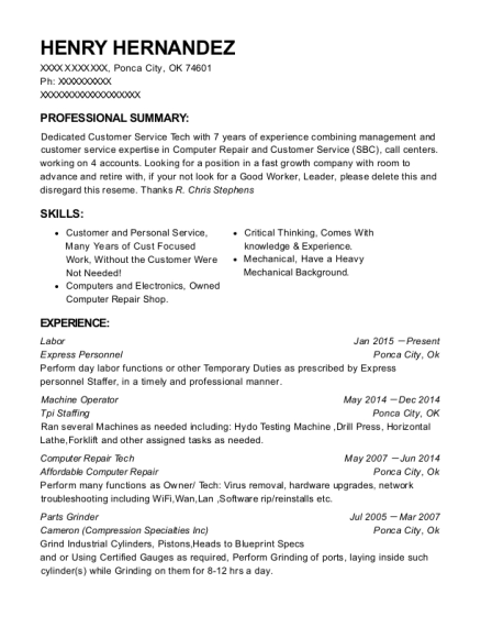 view resume - Computer Repair Resume