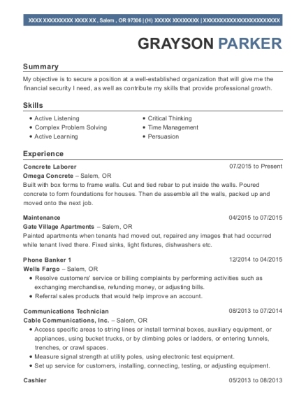 Grayson Parker  Courtesy Clerk Resume