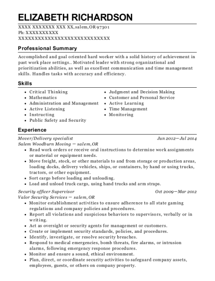 all my sons moving and storage mover resume sample
