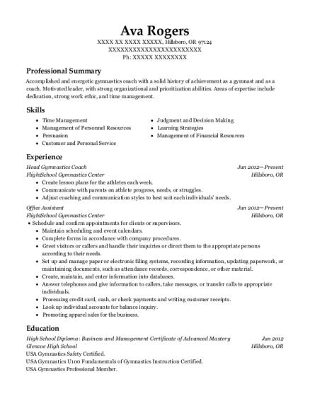 ava rogers - Gymnastics Coach Resume