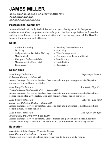 James Miller  Auto Body Technician Resume