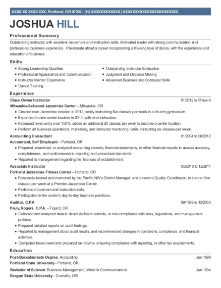Milwaukie Sellwood Jazzercise Center Class Owner Instructor Resume ...