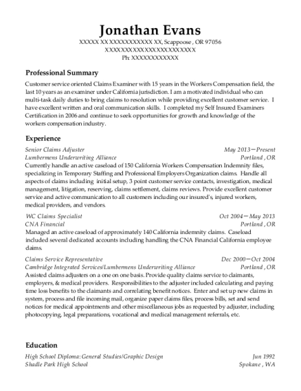 view resume - Claims Adjuster Resume