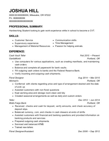 View Resume. Cash Vault Teller