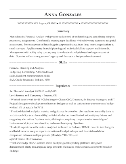 anna gonzales - Senior Financial Analyst Resume