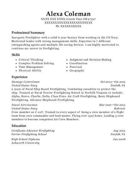 united states navy damage controlman resume sample grants pass