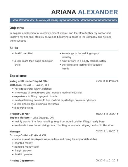 Matheson Tri Gas Swing Shift Loader Resume Sample - Troutdale Oregon ...