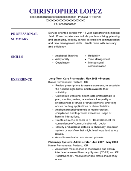 kaiser permanente long term care pharmacist resume sample portland