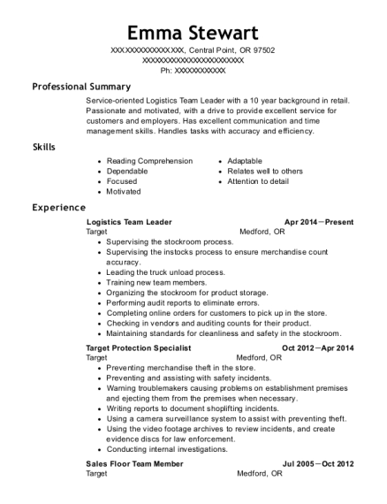 resume of team leader