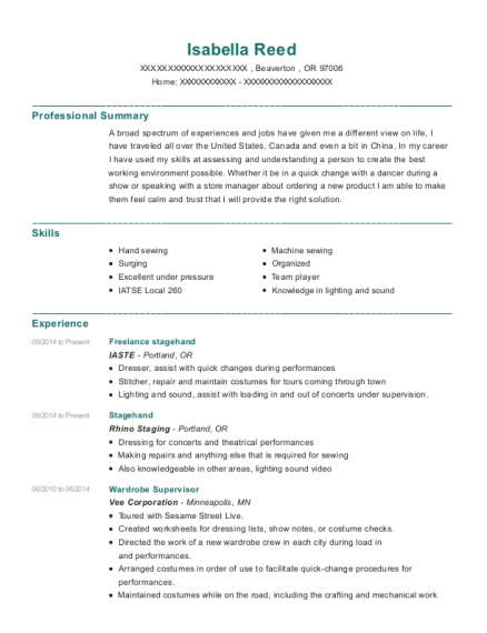 iaste freelance stagehand resume sample beaverton oregon resumehelp