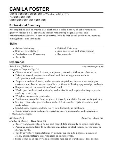 Best Kitchen Clerk Resumes | ResumeHelp