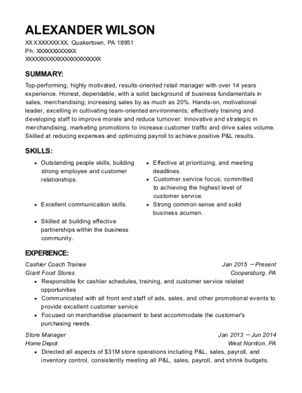 subway store manager resume sample