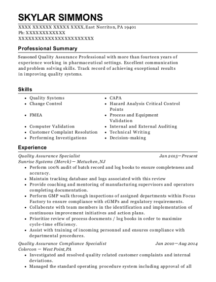 Quality Assurance Specialist Audit Assistant Customize Resume View