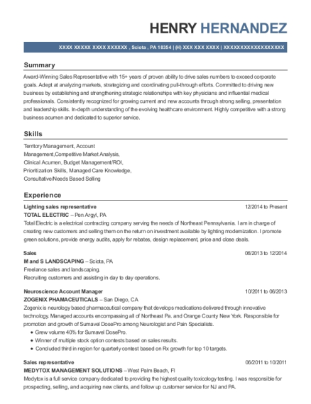 Total Electric Lighting Sales Representative Resume Sample - Sciota ...
