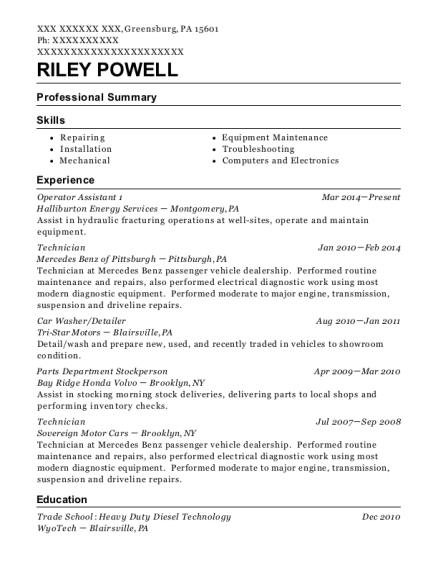 Halliburton Energy Services Operator Assistant 1 Resume Sample ...