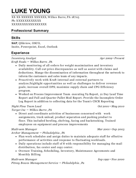 Sears Holdings Corporation Inventory Analyst Resume Sample