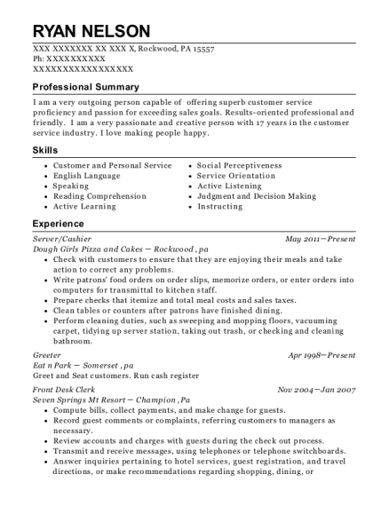 ryan nelson - Sample Greeter Resume