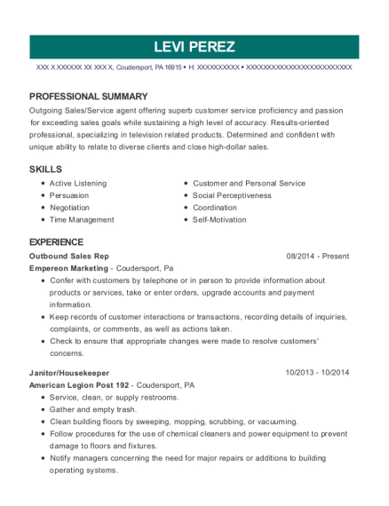 Empereon Marketing Outbound Sales Rep Resume Sample - Coudersport ...