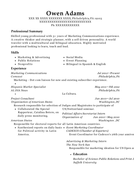 owen adams - Advertising Internship Resume