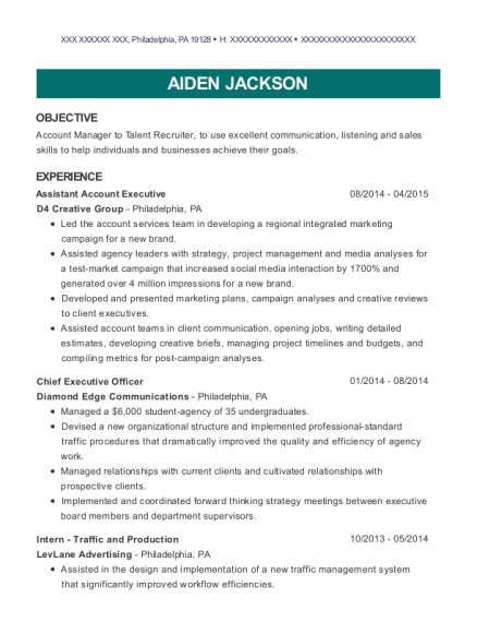 View Resume Assistant Account Executive