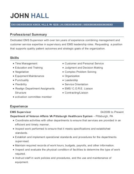Superb View Resume. EMS Supervisor