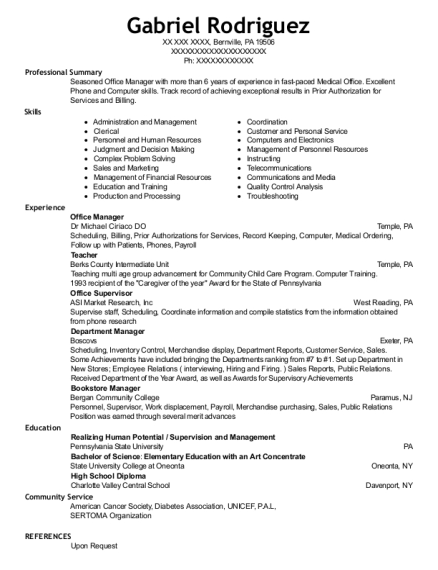 bookstore manager resume