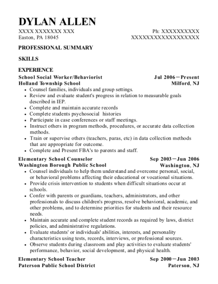 sample school counselor resumes