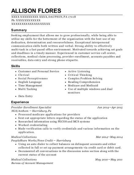 best provider enrollment specialist resumes resumehelp