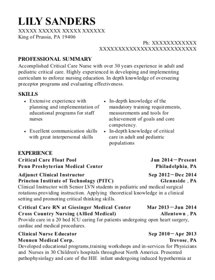 lily sanders - Clinical Instructor Resume