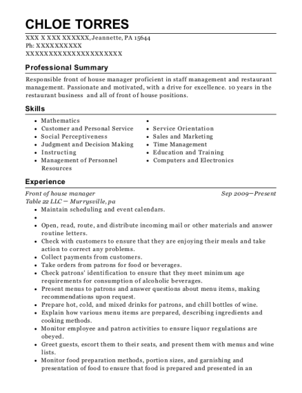 Front Of House Manager Customize Resume View