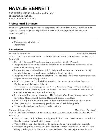 natalie bennett - Freight Broker Sample Resume