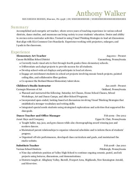 View Resume Elementary Art Teacher