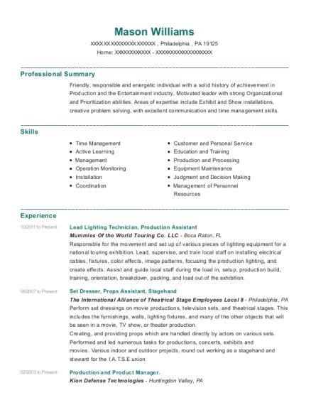 View Resume. Lead Lighting Technician