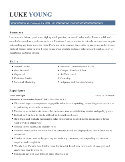 luke young - Account Representative Resume