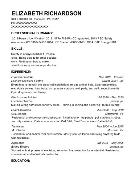 Best Lead Electrician Resumes | ResumeHelp