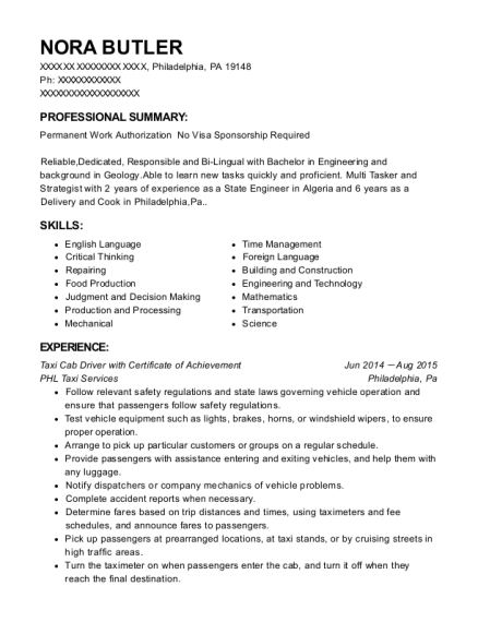 People Also Search For. Customize Resume · View Resume. Taxi Cab Driver ...