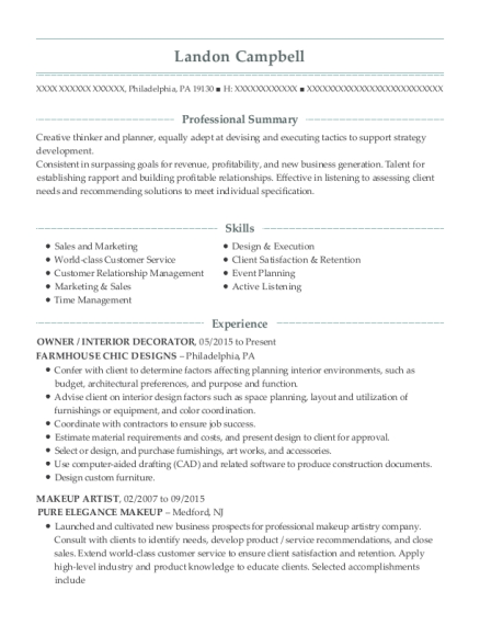 Landon Campbell  Beauty Advisor Resume