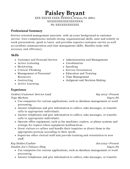 View Resume. Cashier/Customer Service Lead  Cashier Customer Service Resume