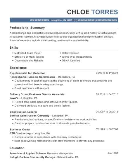 resume for customer service associate
