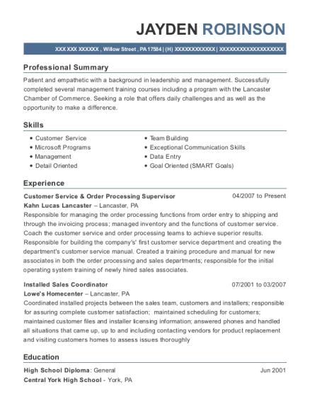 View Resume Customer Service