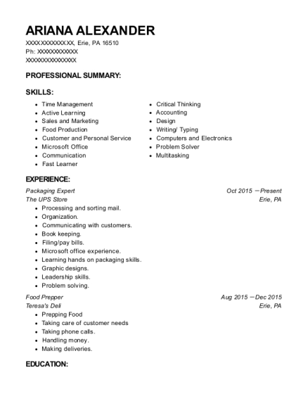 The Ups Store Packaging Expert Resume Sample - Erie Pennsylvania ...