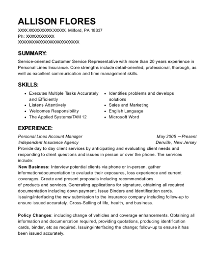 Best Senior Personal Lines Account Manager Resumes Resumehelp