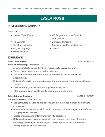 state of mississippi lead clerk typist resume sample jenners