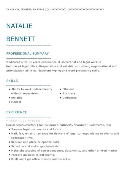 Neil Sullivan Bathersby Solicitors Casual Legal Secretary Resume