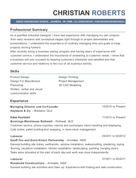 keystone co managing director and co founder resume sample