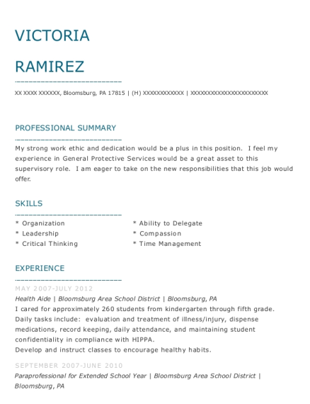 victoria ramirez - Paraprofessional Job Description For Resume
